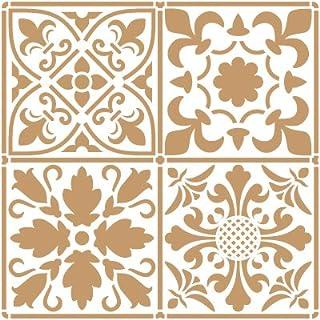 comprar comparacion TODO-STENCIL Deco Fondo 097 Baldosas 2 Capas. Medida Exterior 20 x 20 cm Medida del diseño: 18,2 x 18,2 cm