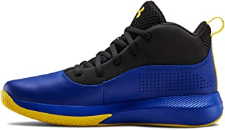 Under Armour Unisex-Kid's Pre School Lockdown 4 Wide Basketball Shoe, Royal (400)/Black, 7
