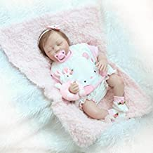 White Blue Eyes Close Nicery Reborn Baby Doll Renacer Beb/é la Mu/ñeca Vinilo Simulaci/ón Silicona Suave 22 Pulgadas 55cm Boca Magn/ética Natural Ni/ña Ni/ño Juguete v/ívido para 3 a/ños