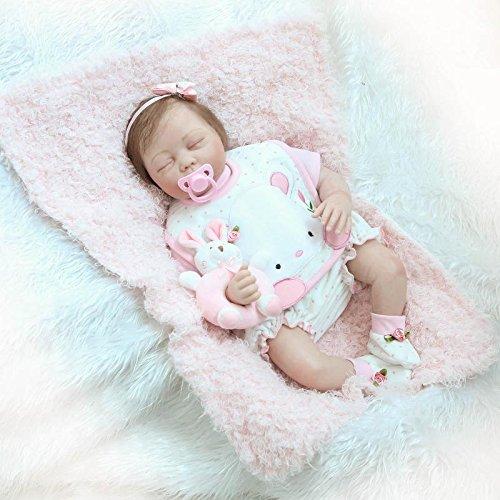 Nicery Reborn Baby Doll Renacer Bebé la Muñeca Vinilo Simulación Silicona Suave 22 Pulgadas 55cm Boca Natural Niña Niño Juguete vívido Girl RDS55C002