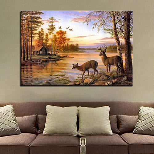 zzlfn3lv Lona Moderna Sala de Estar Pintura fotográfica 1 Panel Forest River Landscape HD Imprimir Wall Art Modular Frameless Poster Home Decor 1 57x90cmx1pcs