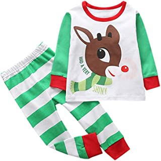 2018 Clearance Kids Christmas Party Outfits Set Pajama,Toddler Baby Girl Boy Deer T-shirt Tops Plaid Pants Home Wear
