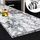 Yenhome 24' x 118' Landscape White Faux Marble Counter Top Covers Peel and Stick Wallpaper for...