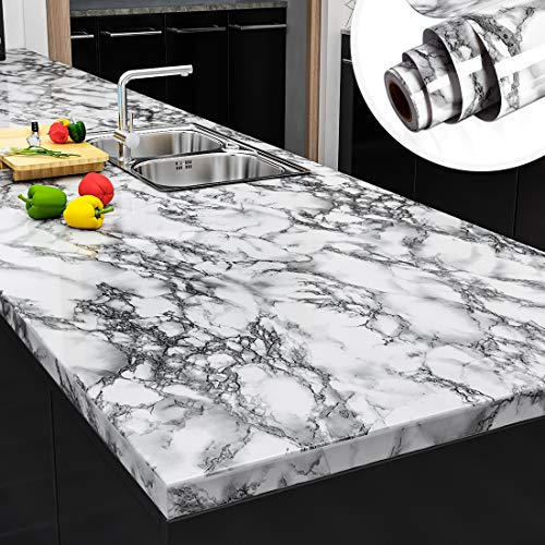Yenhome 24 x 118 Landscape White Faux Marble Counter Top Covers Peel and Stick Wallpaper for Kitchen Backsplash Cabinets Shelf Liner Self Adhesive Waterproof Wall Paper for Bathroom Wall Decor