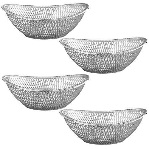 "Large Plastic Silver Bread Baskets - 4 Pack Reusable 12"" Oval Food Storage Basket - Elegant Modern Décor for Kitchen, Restaurant, Centerpiece Display - by Impressive Creations"