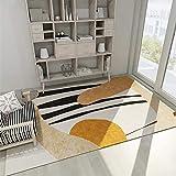 Alfombra Dormitorio Juvenil Alfombras Vintage Modelo Abstracto Negro Amarillo Diseño de la habitación de los niños y Duradera Alfombras Lavables En Lavadora 140x200cm