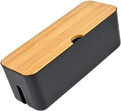DOITOOL Caixa de gerenciamento de cabos com capa de madeira, 1 caixa organizadora de cabos para cobrir e ocultar fios de T...