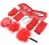 XO-MOK Conjunto de Encaje Rojo de 5 Juegos de Cama Hombres Mujeres Cosplay Pareja Jugar Juguetes Vestido Personalizado