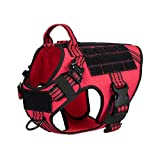ICEFANG Tactical Dog Harness with 2X Metal Buckle,Working Dog MOLLE Vest with Handle,No Pulling Front Leash Clip,Hook and Loop for Dog Patch (M (25'-30' Girth), Red)