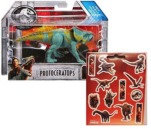 Jurassic World Protoceratops Attack Pack Figure + One Sheet of 12 Dinosaur Stickers Bundle (2 Items)