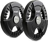 POWRX Discos olímpicos 10 kg Set (2 x 5 kg) - Pesas Ideales para Mancuernas y Barras olímpicas con diámetro 51 mm (Negro)