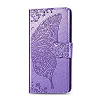 LLFVN for iPhone 12 Mini 11 Pro X XS MaxXRカバーレザーウォレット用フリップケースfor iPhone 8 7 Plus 6 6S CoqueFunda用電話ケース-Light Purple-for iPhone 12 Pro