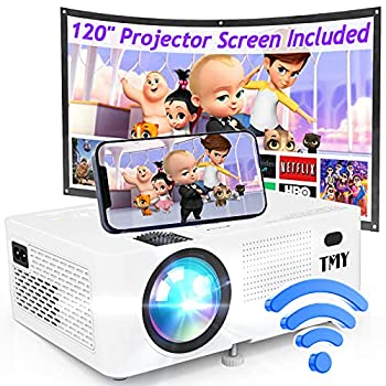 TMY WiFi Projector with 120″ Screen [200 ANSI - Over 8000 Lux Brightness] 1080P Full HD Enhanced Projector Portable Projector Compatible with TV Stick HDMI USB for Home Cinema & Outdoor Movies.