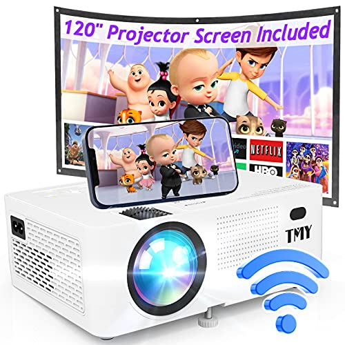 TMY WiFi Projector with 120″ Screen, [200 ANSI -...