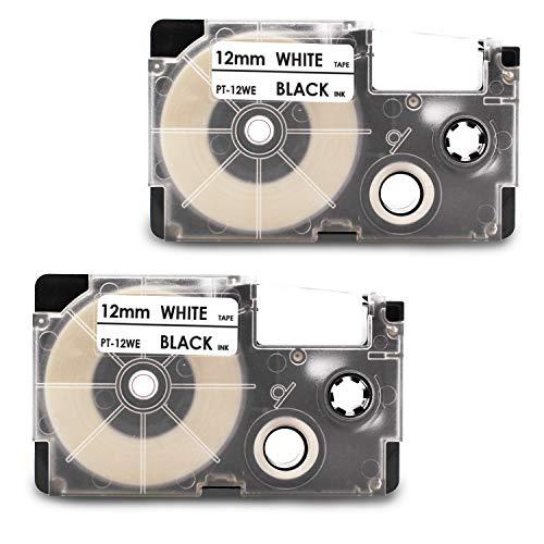 2x Labelwell 12mm x 8m Sostituzione Nastro per Etichette Compatibile per Casio XR-12WE XR-12WE1 Nero su Bianco per Casio KL-60 KL-120 KL-HD1 KL-G2TC KL-170PLUS KL-820 KL-60SR KL-70e KL-780 KL-200
