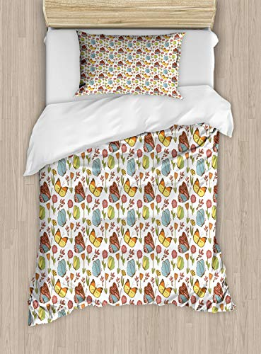 ABAKUHAUS Blumen Bettbezug Set Einzelbett, Hagebutte Pflanze und Pfingstrose, Kuscheligform Top Qualität 2 Teiligen Bettbezug mit 1 Kissenbezüge, Mehrfarbig
