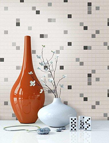 NEWROOM Tapete Weiß Mauer Fliesen Modern Papiertapete Schwarz Papier moderne Design Optik Fliesentapete Loft inkl. Tapezier Ratgeber