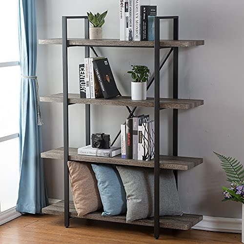 HSH 4-Shelf Vintage Industrial Bookshelf, Rustic Wood and Metal Bookcase, Open Wide Office Etagere...