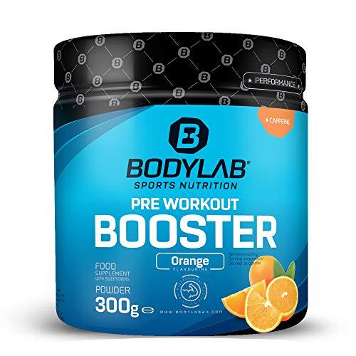 Bodylab24 Pre Workout Booster 300g | Energy Drink vor dem Training | Pulver mit Aminosäuren und Koffein | Orange