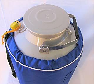 """Liquid Nitrogen Ln2 Storage Tank, Cryo Container Dewar, with Canisters & Strap (30L), Wide Mouth (8"""")"""
