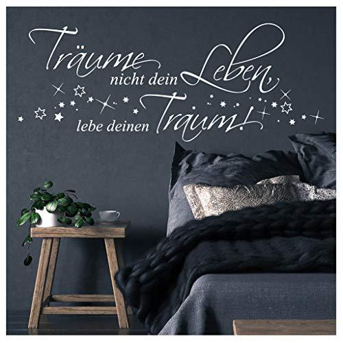 Wandtattoo Träume Nicht Dein Leben, lebe deinen Traum! Schriftzug / 04 dunkelrot / 55 cm hoch x 145 cm breit
