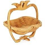 com-four® Frutero de bambú con un Gran diseño - Frutero de pie en Forma de Manzana - Etagere de Frutas Decorativo - Cesta de Verduras - Cesta de Frutas - Cuenco Decorativo