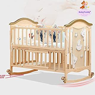 BabyTeddy® 9 in 1 Convertible Forest Theme Baby Crib Wooden Cot Bed Swing Desk with 6 Piece Bedding Set and Mosquito Net