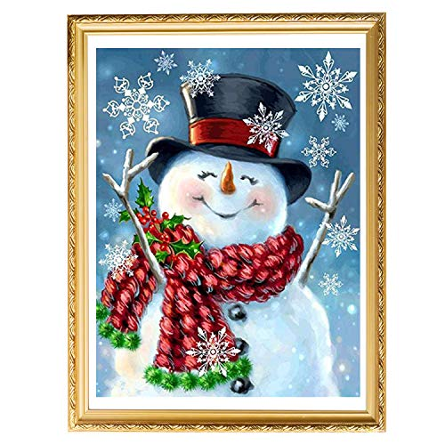 UPINS Christmas Snowman 5D Diamond Painting Art Kit for Adult on Holiday(10 X14 Inches)