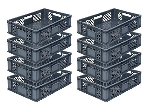 8x Eurobehälter/Stapelkorb/Bäckerkisten, Grundmaß 600x400x150 mm. Eurobox stapelbar aus Kunststoff in TOP-Qualität - Made in Germany (Grau)