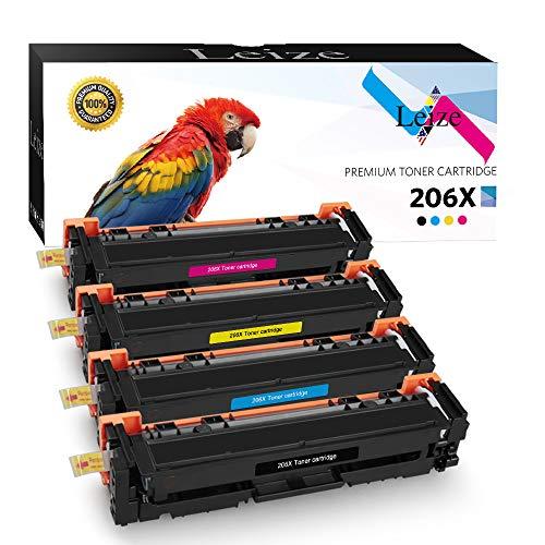 Price comparison product image Leize Compatible HP 206X 206A Toner Cartridges 4-Pack (W2110X W2111X W2112X W2113X) use for HP Color Laserjet Pro M255 M255dw MFP M283 M283cdw M283fdw MFP M282 M282nw Printer