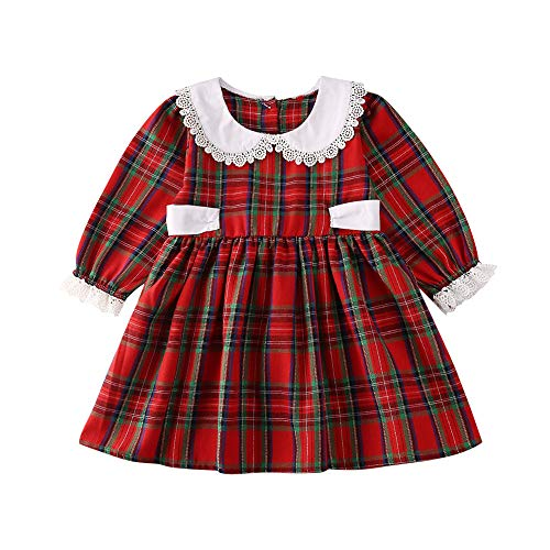 Toddler Baby Girl Plaid Long-Sleeve Dress Doll Collar Princess Dresses Fall Outfits Clothes (Plaid lace Dress, 1-2t)