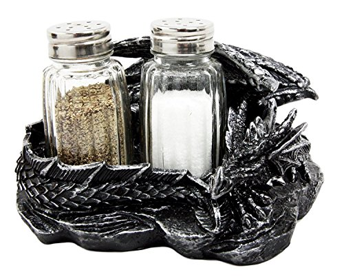Mythical Sleeping Dragon Glass Salt and Pepper Shaker Set with Decorative Holder Display Stand Figurine for Medieval Kitchen Decor Sculptures & Gothic Dining Room Table Centerpieces As Fantasy Home