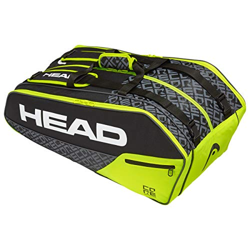 HEAD Core 9R Supercombi, Borsa per Racchetta Unisex Adulto, Black/Neon Yellow