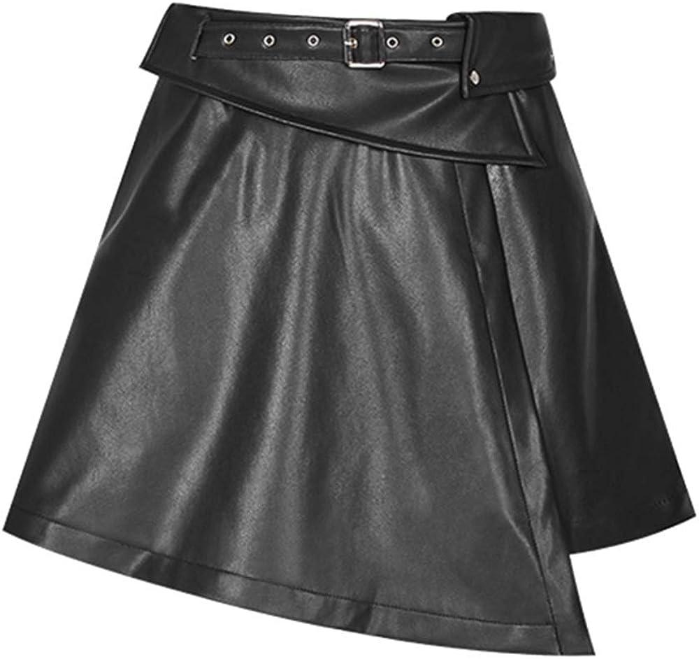Punk Rave Women's Fake Waistband A Pendulum Leather Half Skirt Ersonalit Unique Irregular Hem Casual Mini Skirt