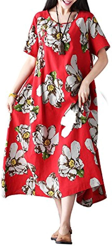 XIURONG Female Cotton Print Dress Dress Loose