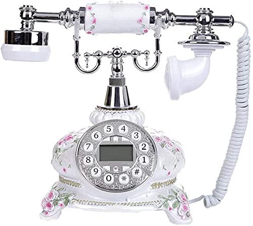 TAIDENG Clásico Europeo Retro teléfono Fijo teléfono Fijo Retro Estilo casero Resina patrón Tridimensional decoración de la Oficina de la Oficina Teléfono Antiguo (Color : A)