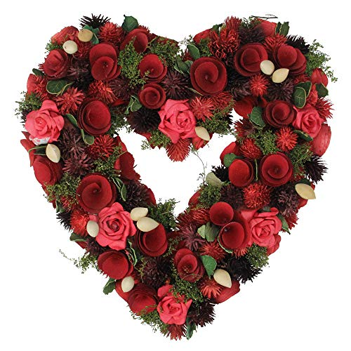 Red Rose Heart Shaped Valentine's Day Wreath 13 Inches