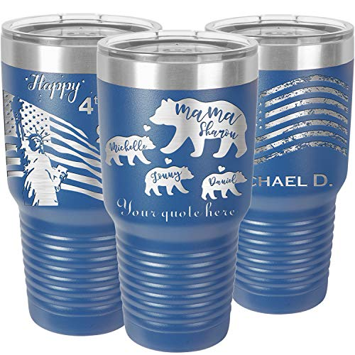 Personalized Mama Bear and Cubs Tumbler with Lid and Straw,Your Name Engraved in USA by iProductsUS,30oz Vacuum Insulated Travel Coffee Mugs,Stainless Steel Double Wall Thermos,Customized Cups (Blue)