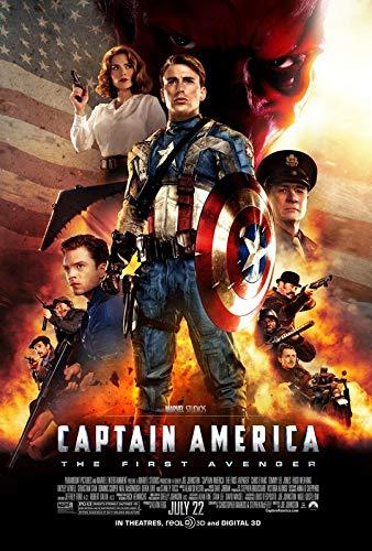 Póster de la película del Capitán América El Primer Vengador 6 – Mejor impresión artística de calidad para decoración de pared – A4Canvas (12/8') – (31/20 cm) – estirado, listo para colgar
