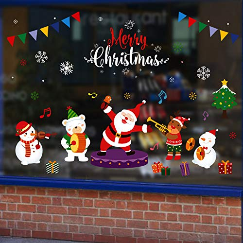 YOUYIKE Navidad Pegatinas de Ventana,PVC Pegatinas de Santa,