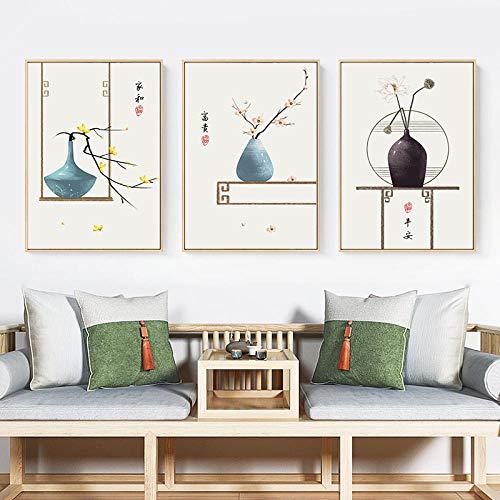 JRLDMD Estilo Retro Chino Pintura de la Lona Floral Cartel de la impresión de la Vendimia Arte de la Pared Dormitorio del hogar Moderno Decoración de la Sala de Estar Imagen Mural 40x60cmx3 Sin Marco