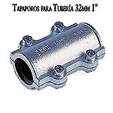 Suinga - Tapaporo 1' abrazadera acero de reparación para tuberia 32mm metal. Utilizada para reparar grietas en las tuberías de polietileno, acero y metal.