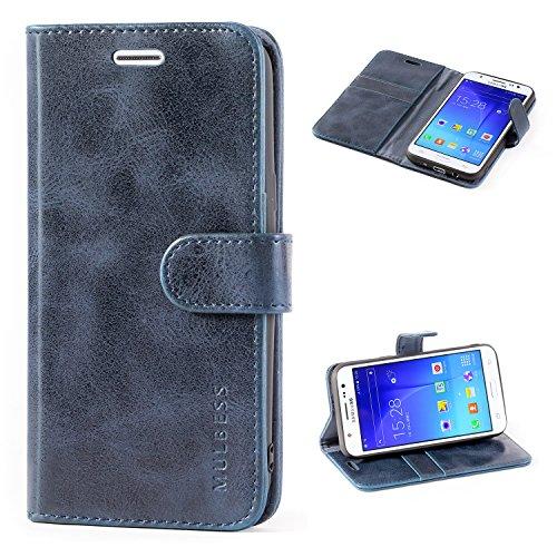 Mulbess Cover per Samsung Galaxy J5 2015, Custodia Pelle con Magnetica per Samsung Galaxy J5 2015 [Vinatge Case], Blu Navy