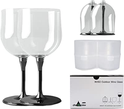 Boso Portable Collapsible Plastic Couple Wine Glasses Set with Hard Case
