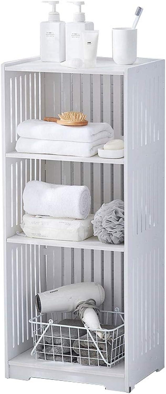 Storage Rack 2 Layers 3 Layers 4 Layers White Plastic Waterproof Floor-Standing Bathroom Shelf (Size   40×30×94cm)