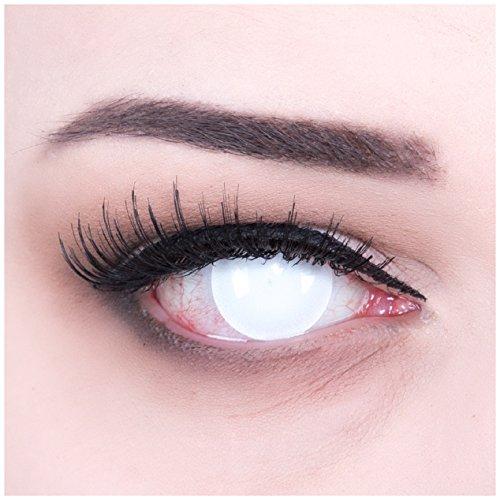 Funnylens 1 Paar farbige weisse blinde Crazy Fun Blind White Jahres Kontaktlinsen perfekt zu Halloween, Karneval, Fasching oder Fasnacht mit gratis Kontaktlinsenbehälter ohne Stärke!