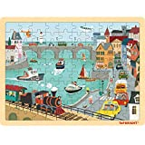 TOP BRIGHT 100 Piece Wooden Jigsaw Puzzles for Kids 3 4 5 Year Old, Urban Wooden Jigsaws for Children Age 3 4 5 with Storage Bag