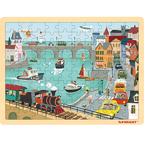 TOP BRIGHT 100 Piece Puzzles for Kids Ages 4-8 - Urban Jigsaw Puzzle for 4 5 Year Old