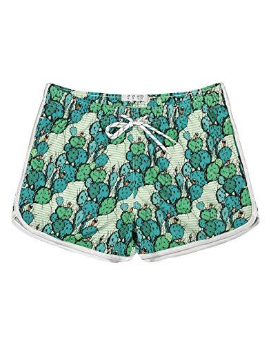 APTRO Damen Badeshorts Kurze Badehose Strand Wassersport Shorts Boardshorts UV Schutz Sommer Sport Gym Shorts Kaktus Grün WS203 L