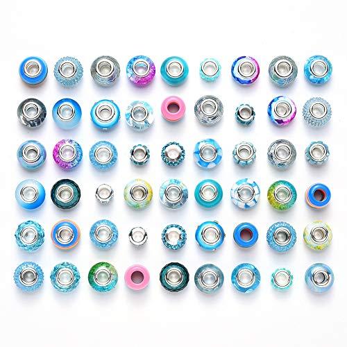 54 piezas de resina de imitación de cristal europeo de gran agujero, cuentas espaciadoras de metal con diamantes de imitación para manualidades, pulseras, collares, joyería (azul claro)